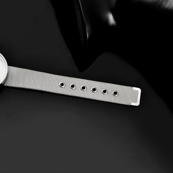 Black Mesh Band White Dial Analogue Watch