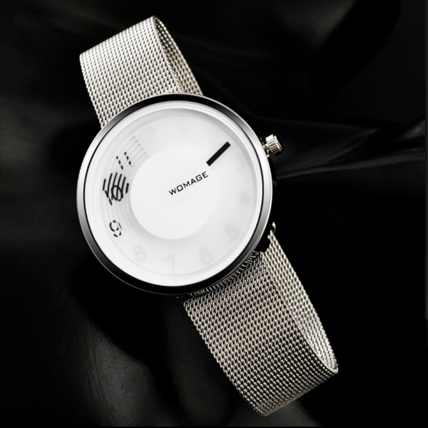 Silver Mesh Band White Dial Analogue Watch