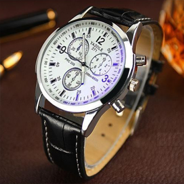 Leather Strapped Luxury Design Wrist Watch - Brown