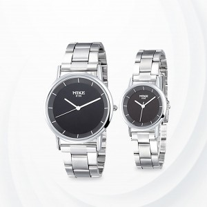 Silver Stainless  Strapped Black Dial Couple Watch