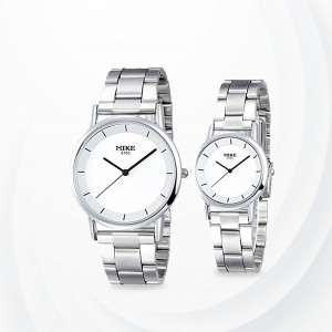 Silver Stainless  Strapped White Dial Couple Watch