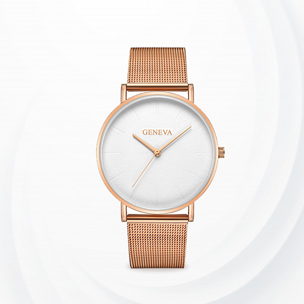 Mesh Strapped Classic Analogue Watches - Rose Golden