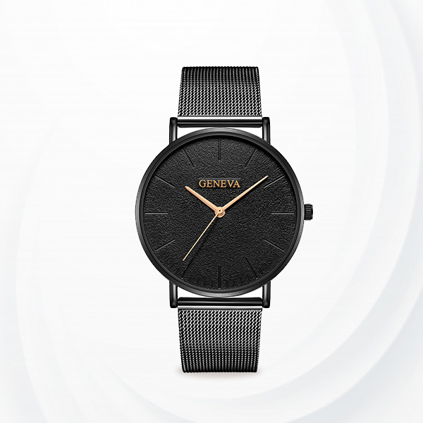 Black Mesh Strapped Classic Analogue Watches - Black