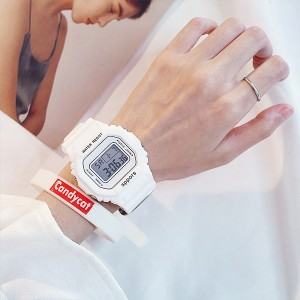 Waterproof  Plastic Strapped Digital Student Watch - White