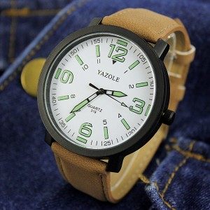Waterproof Night Vision White Dial Wrist Watch - Brown