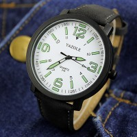 Waterproof Night Vision White Dial Wrist Watch - Black