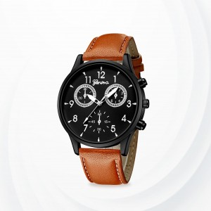 Numeric Black Dial Leather Strapped Analogue Watch -Black Brown