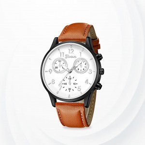 Numeric Dial Leather Strapped Analogue Watch - Brown