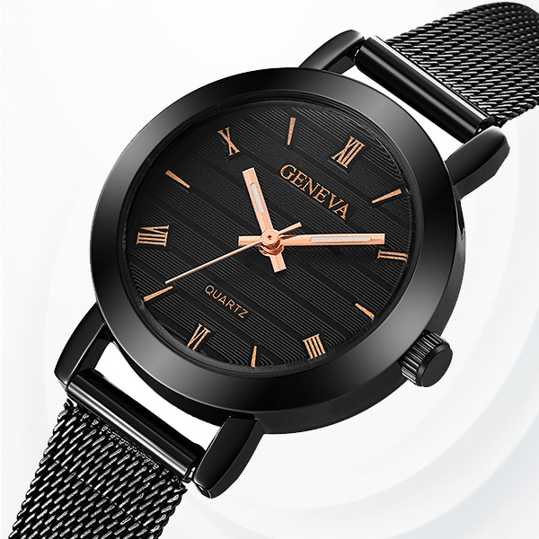 Mesh Roman Dial Exclusive Wrist Watches - Black Gold