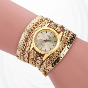 Wide Strap Bracelet Golden Dial Analogue Watch - Golden