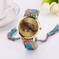 Elephant Printed Dial Ladies Party Wear Watches - Blue