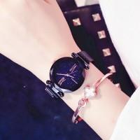Crystal Carved Roman Mesh Bracelet Watch - Black