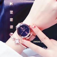 Crystal Carved Roman Mesh Bracelet Watch - Golden