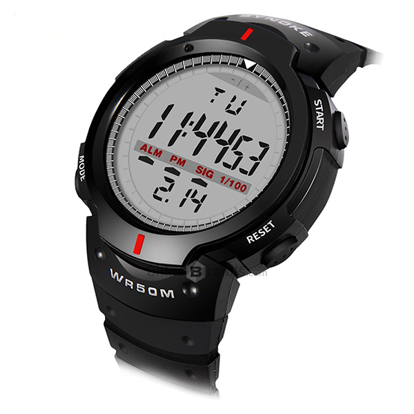 Digital Grey Dial Black Outdoor Sports Mens Watch