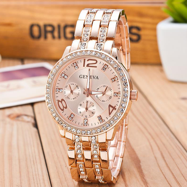 Crystal Decorated Rose Golden Analogue Watch