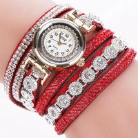 Pu Leather Analogue Dial Diamond Bracelet Watches - Red