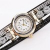 Pu Leather Analogue Dial Diamond Bracelet Watches - Brown