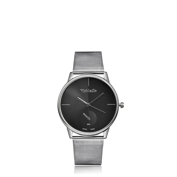 Stainless Black Dial Mesh Silver Strap Wrist Watch