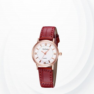 Leather Strap Crystal Wrist Watch For Women - Burgundy