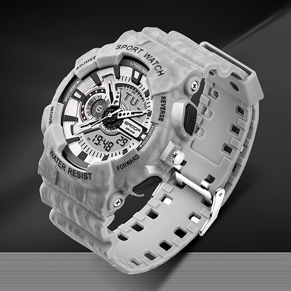 Grey Camouflage Sports Waterproof Wrist Watch