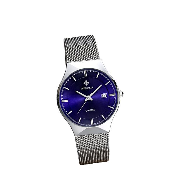Men Quartz Casual Wrist Watch Stainless Steel Analog Blue Watch