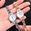 Crystal Decorated Chain Style Silver Wrist Watch