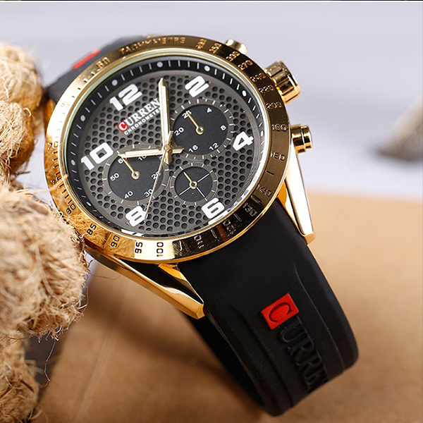 Black Rubber Strap Casual Golden Analogue Watch