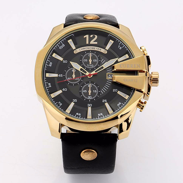 Curren Black Strappy Golden Wrist Watch