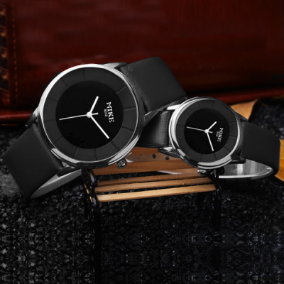 Black Leather Strapped Black Dial Couple Watch