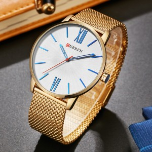 Roman Dial Golden Mesh Analogue Wrist Watch - White