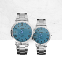 Roman Blue Dial Stainless Couple Wrist Watch