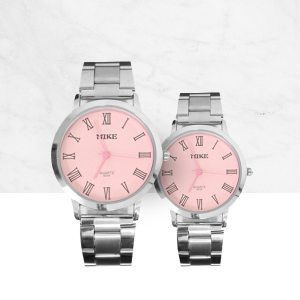 Roman Pink Dial Stainless Couple Wrist Watch