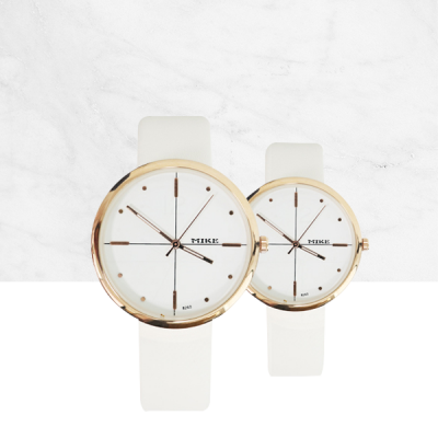 Luxury White Leather Analogue Couple Wrist Watch