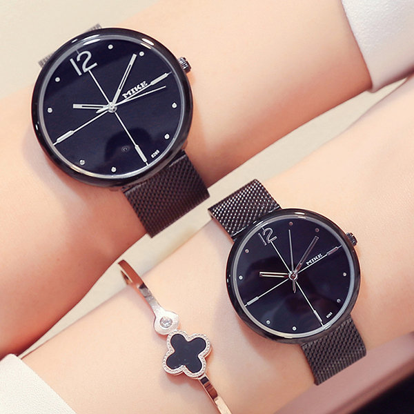Black Stainless Mesh Strappy Couple Analogue Watch
