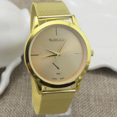 Golden Mesh Band Analogue Women Wrist Watch