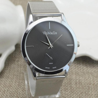 Silver Mesh Band Black Dial Analogue Wrist Watch