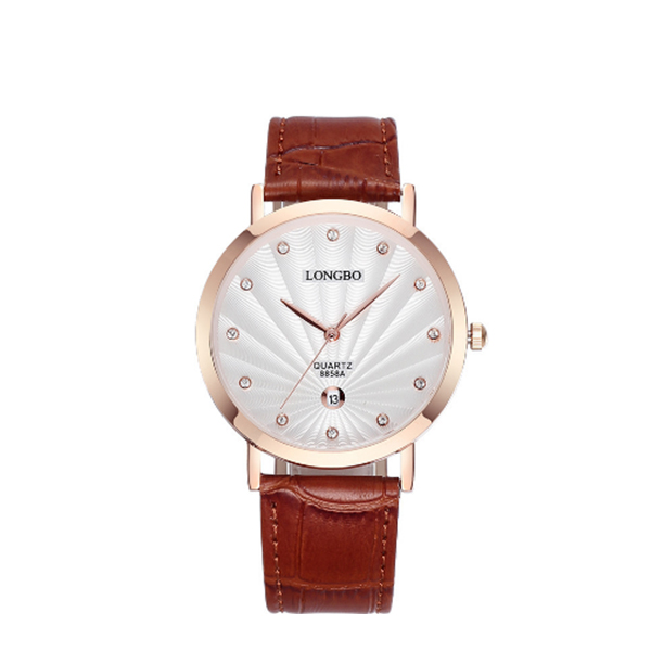White Dial Fashion Water Resist Stainless Calendar Men Watch