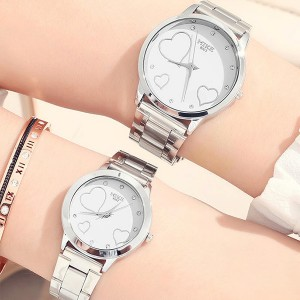 Romantic White Dial Stainless Couple Wrist Watch