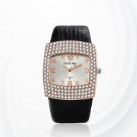 Diamond Pattern Synthetic Leather Quartz Female Watch - Black
