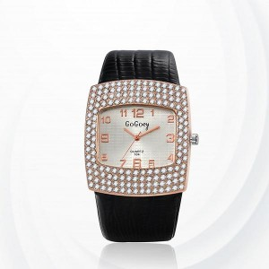 Diamond Pattern Synthetic Leather Quartz Female Watch - Black