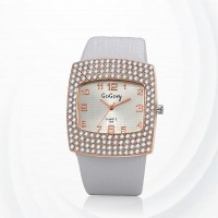 Diamond Pattern Synthetic Leather Quartz Female Watch - White