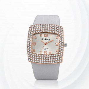 Diamond Pattern Synthetic Leather Quartz Female Watch - White