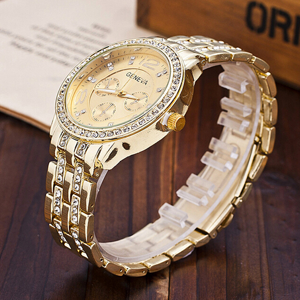 Alloy Crystal Band Unisex Fashion Watch Golden