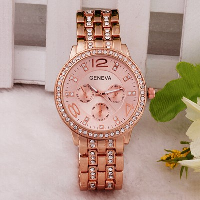 Fashion Alloy Crystal Band Watch Rose Gold