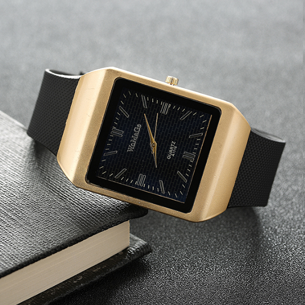 Branded Square Black Quartz Analogue Wrist Watch
