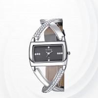 Wide Dial Bracelet Female Party Wear Watch - Black