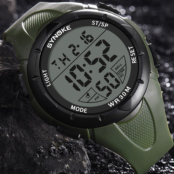 Digital Dial Engraved Silicon Mens Wrist Watch - Green