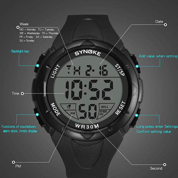 Digital Dial Engraved Silicon Mens Wrist Watch - Black