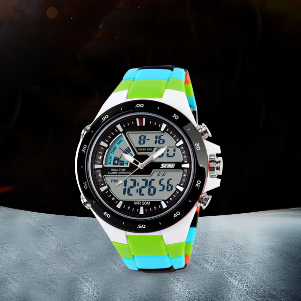 Water Resistant Analogue With Digital Watch - Multicolor