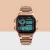 Classic Steel Strapped Digital Wrist Watch - Rose Gold